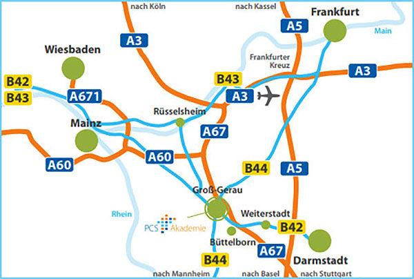 Anreise zur PCS Akademie Groß-Gerau